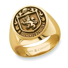 John Christian Man's Family Crest Ring in 14K Yellow Gold - also available in 18K Yellow Gold