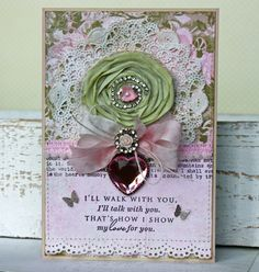Beautiful shabby chic handmade card in blush pink and mint green.