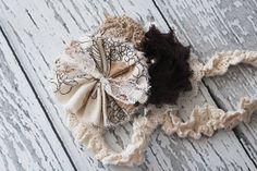 Urban Cowgirl- burlap, linen ruffle and chiffon bloom headband brown and natural
