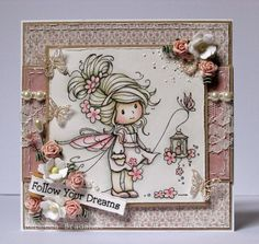 Sweet Sparkle (Sylvia Zet, Wee Image, Whimsy Stamps) - (Papers: Maja Design - Vintage Summer Basics)