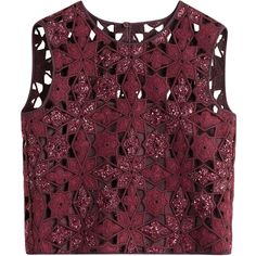 Alberta Ferretti Crochet Cropped Top ($780) ❤ liked on Polyvore featuring tops, t-shirts, crop top, red, slimming tops, purple floral top, crochet top, red crop top and floral print top