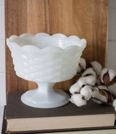 Vintage Milk Glass Candy Dish - Compote Candy Dish Fenton's Basket Weave Pattern Collectible Milk Glass Dishes Bowls by TeamSuttonDesigns on Etsy