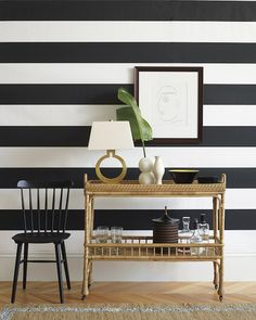 Front Hall Idea. Striped Wall Either Via Paint, Wallpaper Or Ship Lap(?