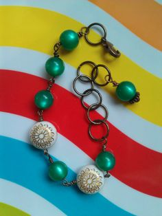 Vintage Lucite Green and Gold Flower Bracelet ($25) by Avocado Eggroll