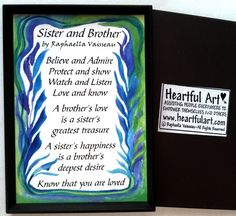 SISTER and BROTHER 2x3 #MAGNET Original #Poem by Raphaella Vaisseau #Heartfulart #sister #brother #raphaella_vaisseau #heartful_art #etsy #family #relationship #sibling #birthday