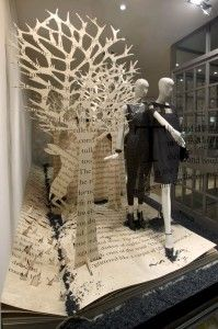 Window display with trees