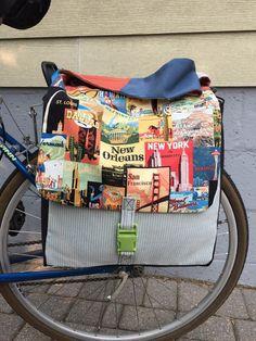 Bicycle pannier saddlebags postcard print