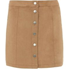 Dorothy Perkins Tan Suedette Button Mini Skirt (730 MXN) ❤ liked on Polyvore featuring skirts, mini skirts, brown, short skirts, dorothy perkins, beige mini skirt, beige skirt and brown skirt