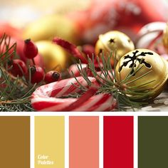 brown, chocolate brown, color matching, color of dark gold, color of New year, color of spruce, color of spruce needles, color solution for the New Year, coral, dark green, green, palette of New Year colors, Red Color Palettes, saturated red, warm gold, warm yellow.
