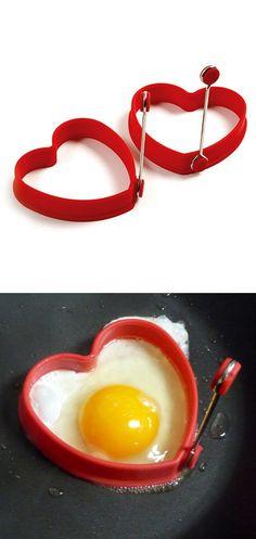 Red heart egg ring / mini pancake ring #product_design