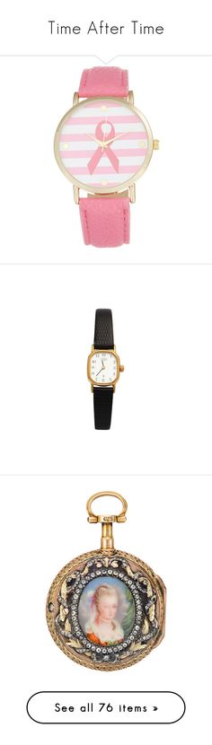 """""""Time After Time"""" by taught-to-fly19 on Polyvore featuring jewelry, watches, joyas, pink, ribbon watches, leather-strap watches, dial watches, quartz movement watches, pink dial watches e accessories"""