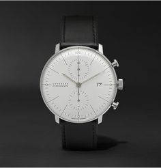Junghans Max Bill Stainless Steel and Leather Chronoscope Watch