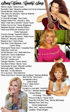 Country Girl Power Playlist Songs for Strong Country Women (i hope i find some great dance tunes here)Songs for Strong Country Women (i hope i find some great dance tunes here) Female Country Songs, Country Songs List, Country Playlist, Country Dance Songs, Country Videos, Country Music Quotes, Music Lyrics, Music Songs, Music Videos
