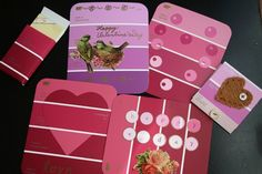 Valentine's Cards from paint swatches My Funny Valentine, Valentine Day Crafts, Happy Valentines Day, Valentine Ideas, Holiday Crafts, Holiday Ideas, Paint Chip Cards, Paint Sample Cards, Paint Samples