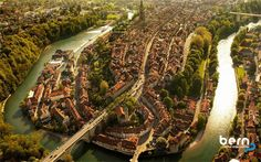 Aerial photo of Bern Switzerland  Beautiful Bern from Above. An unspoilt jewel of medieval architecture, granted World Cultural Heritage status by the United Nations. Four miles of ancient arcades.