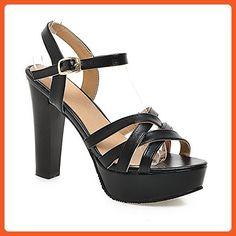 AmoonyFashion Women's Patent Leather Open Toe High-HeelsBuckle Solid Sandals, Black, 41 - Sandals for women (*Amazon Partner-Link)