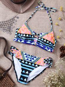 Geometric Print Halter Criss-Cross Bikini Set