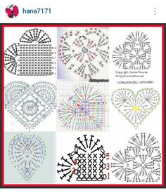 Instagram @hana7171 - crochet hearts pattern diagrams                                                                                                                                                                                 More