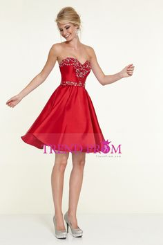 2015 Sweetheart A Line Short/Mini Satin Prom Dress With Crystal Beading