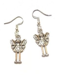 Fairy Earrings Hook Silver Plated Gift Angel Hearts New