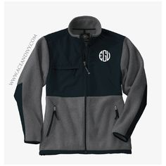 Monogrammed Boyfriend Fleece Jacket - Charcoal & Black – Ace & Ivy