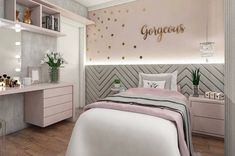 Girls Bedroom Design, Furnishings And Concepts - Home Ideaz Cute Bedroom Ideas, Girl Bedroom Designs, Awesome Bedrooms, Design Room, Interior Design, Room Decor Bedroom, Bedroom Furniture, Bedroom Lamps, Wall Lamps