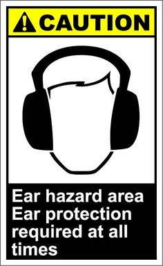 Ear protection must be worn noise level emissions of a or above Ear Protection, Hearing Protection, Jazz Poster, Noise Levels, Safety Glass, How To Draw Hands, I Am Awesome, Signs, Stencils