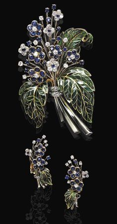 AN ATTRACTIVE SET OF SAPPHIRE, DIAMOND AND PLIQUE-A-JOUR ENAMEL JEWELRY, BY BOUCHERON.