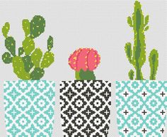 Cactus cross stitch pattern Floral embroidery sampler
