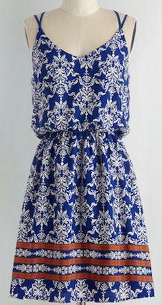 Blue printed sun dress