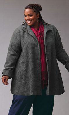 This plus size Wool Swing Coat will keep you toasty warm and stylish all winter long.