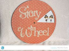 Here's a new twist to story time- the story wheel! The story wheel has a series of 8 pictures placed in an order that tells a story. Created by Martha Clyde.