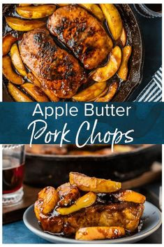 Apple Butter Pork Chops are the perfect ONE PAN recipe for fall and winter! These skillet pork chops with apples are so juicy and flavorful when cooked in the apple butter, and it& just so delicious. And as a bonus, there& only ONE SKILLET to clean! Pan Pork Chops, Skillet Pork Chops, Easy Pork Chop Recipes, Pork Recipes, Cooking Recipes, Recipies, Fall Dinner Recipes, Fall Recipes, Dinner Ideas