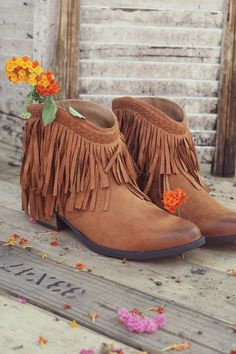 Hit The Road Fringe Rust Ankle Booties