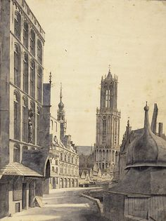Saenredam 1636 - Utrecht Dom tower - Part of the exhibition The Proud of Utrecht. The Dom Tower - Centraal Museum Utrecht Utrecht, High Middle Ages, Dutch Golden Age, City Painting, Dutch Painters, Old Paintings, 15th Century, Vintage Photography, Old Pictures