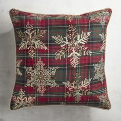 Plaid Pillow with Beaded & Metallic Snowflakes | Pier 1 Imports