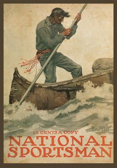 Philip R Goodwin, Rowing Guide, Antique deco,18x12 National Sportsman Cover ART