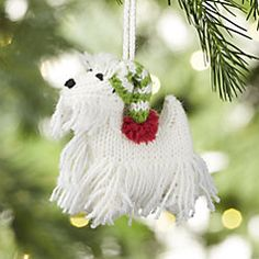 Alpaca Westie with White Hat Christmas Ornament