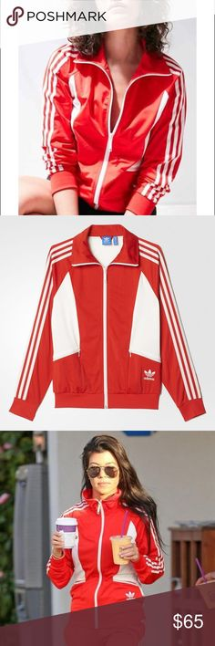 Adidas Originals red retro track jacket NWT SANDRA 1977 TRACK JACKET A SPORTY REPRODUCTION OF A 1977 TRACK JACKET. Step back in time with this jacket, originally part of the 1977 Tennis Collection. This jacket features all the authentic details, like a stand-up collar and a slightly shiny tricot build. Original cutlines give this a feminine, sporty look. Front zip pockets Full enamel-finished zip with stand-up collar Ribbed cuffs/hem; Colourblocking; Raglan sleeves Embroidered Trefoil logo…