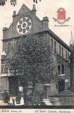 Old Postcard - All Souls Church Harlesden.  Postmarked 10 August 1907