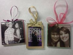 Christmas Tree Ornaments! All you need is any picture of your choice, mod podge, paint, ribbon and glue!