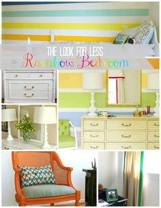 5 Ways to Get This Look:  Rainbow Striped Bedroom