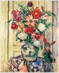 Csok, Istvan (Hungari, 1865 – «Still-Life with Flowers and a Doll Flower Art, Still Life, Flower Paintings, Dolls, Flowers, Art, Paintings Of Flowers, Baby Dolls, Art Floral