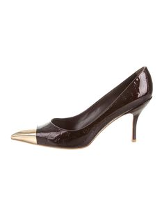 Plum monogram Vernis Louis Vuitton pointed-toe pumps with gold-tone cap-toes and covered heels.