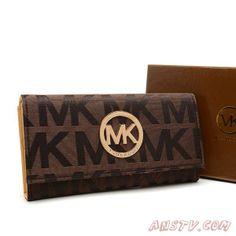 Acheter MK1868 Michael Kors Envelope Logo Large MARRON Wallet Pas cher