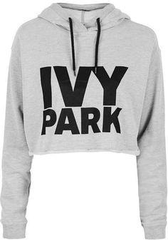 2afbc82f601 Ivy park Cropped logo detailed hoodie White Hooded Sweatshirt