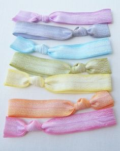 Hair Ties  Set of 7  Pastel Ombre Hand Dyed by HairTieShop on Etsy, $10.00