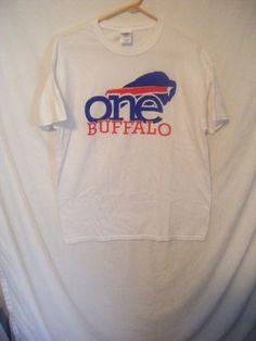 BUFFALO BILLS adult large white t-shirt One Buffalo Pegula  #Gildan #BuffaloBills
