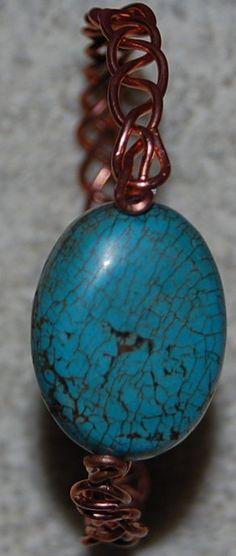 Bangle bracelet copper wire turquoise gemstone by daffydills, $32.00 Bracelet Crafts, Jewelry Crafts, Bangle Bracelets, Bangles, Handcrafted Jewelry, Unique Jewelry, Turquoise Gemstone, Copper Wire, Fiber Art