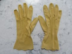 "Vintage 1950's Mustard Scalloped Sueded Cotton Wrist Length 10""  Gloves--Size 7 to 7 1/2--Auction #1125 by PrimaMona on Etsy"